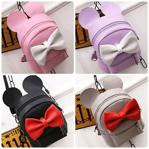 Minnie-Mouse-Bow-Women-Girls-PU-Leather-Backpack-School-Book-Shoulder-Travel-Bag
