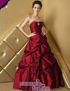 ♥Größe 34,36,38,40,42,44,46,48,50,52,54,56 od. 58 Ballkleid Brautkleid Rot+E469♥