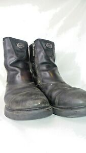 Harley-Davidson-Mens-Leather-Boots-Size-11-Black-Motorcycle-Biker-Zip-Up-Zipper