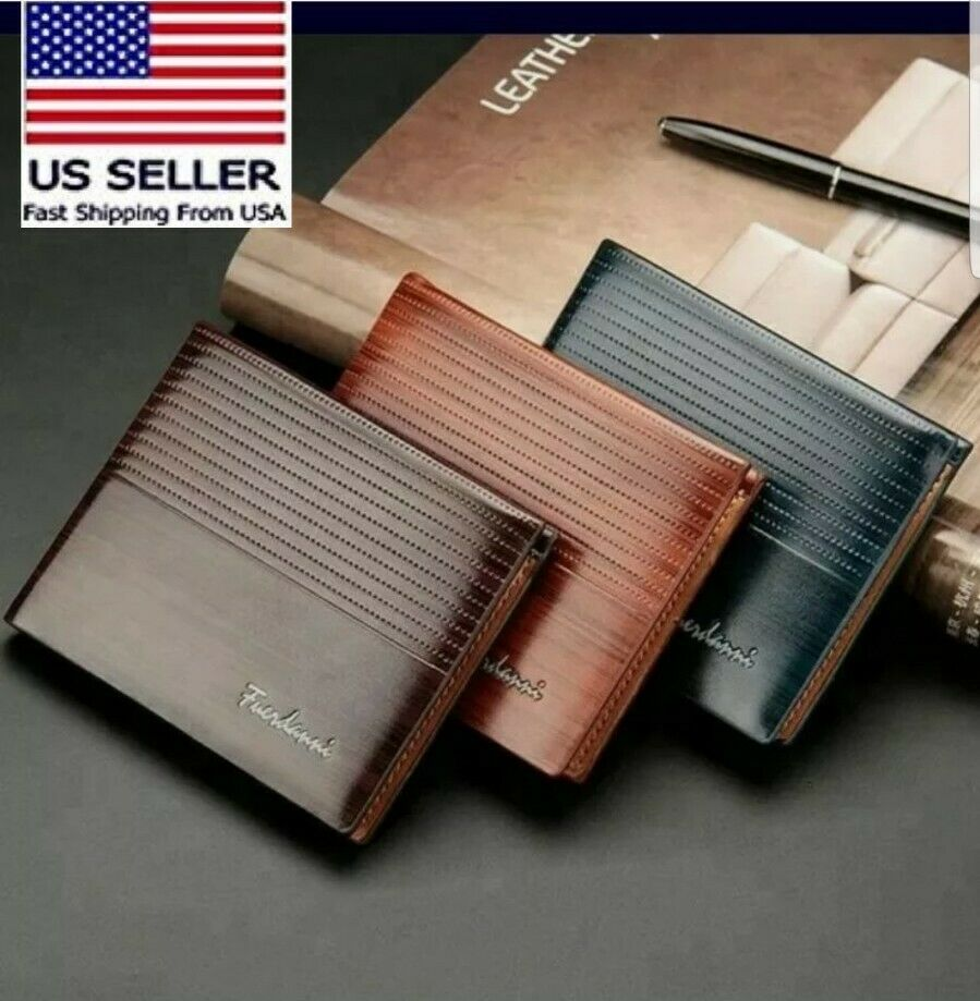 Men's Bifold Leather Wallet ID Credit Card Holder Purse men billfold wallets