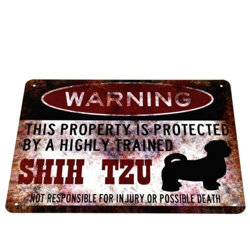 "/""WARNING SHIH TZU DOG/"" METAL NOVELTY WALL PLAQUE PLATE SIGN VINTAGE RETRO DECOR"