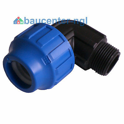 """PE-Rohr Winkel Bogen mit Adapter Außengewinde AG 90° 20mm 25mm 32mm 1/2"""" 3/4"""" 1"""""""