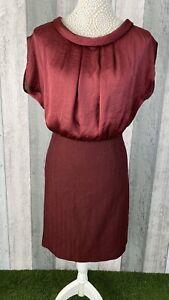 Armario-Borgona-Saten-Top-Herringbone-un-linea-falda-Vestido-SIZE-UK-14