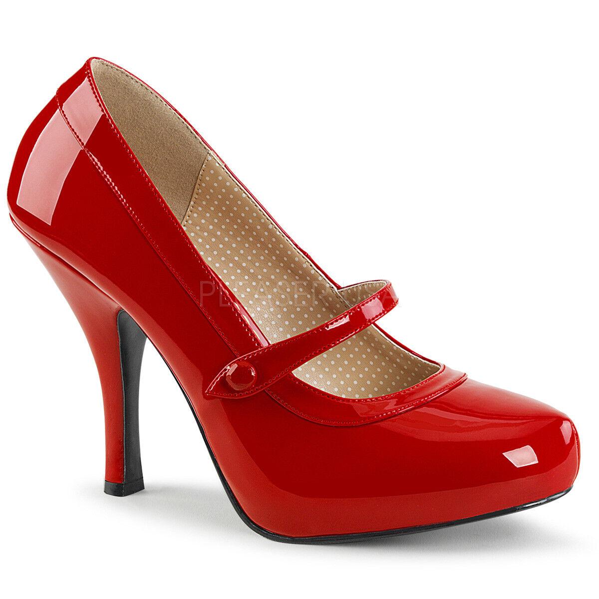 Pleaser PINUP-01 damen rot Patent Hidden Platform Maryjane Pump Heel schuhe