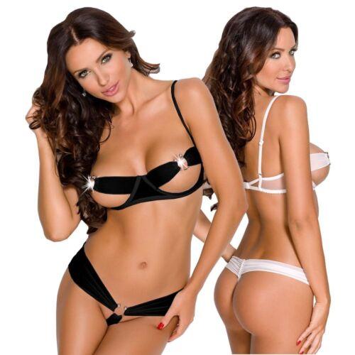 Damen Wäsche Transparentes Dessous Set Netz Schwarz Panty Silberne Ringe XS//S
