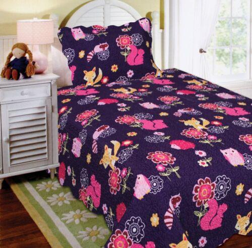 Fancy Linen Twin Size 2pc Bedspread Quilt Teens//girls Owl Fox Animals Purple New