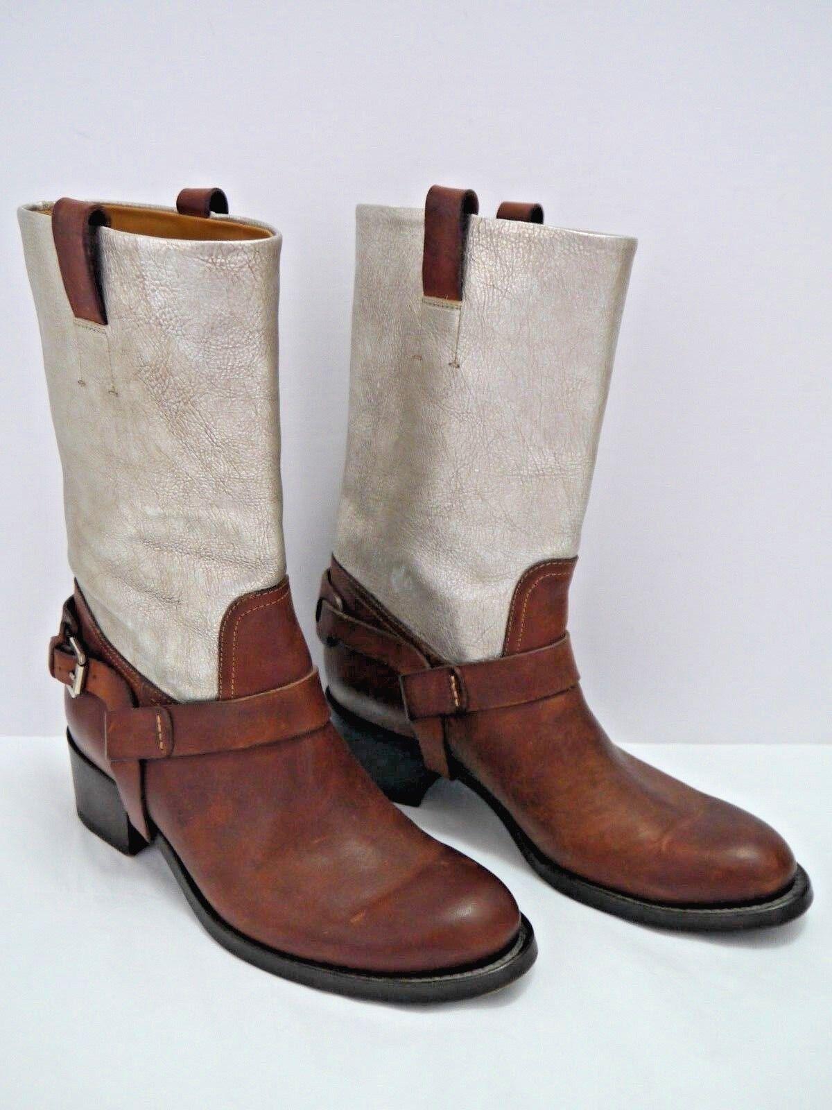 RALPH LAUREN COLLECTION braun antiqued Silber leather Stiefel Größe 7 WORN ONCE