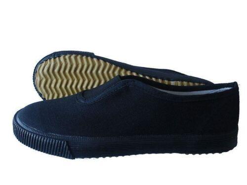 Unisex Boys Girls Sports School Gym Canvas Trainers Plimsolls Pumps Shoes Black