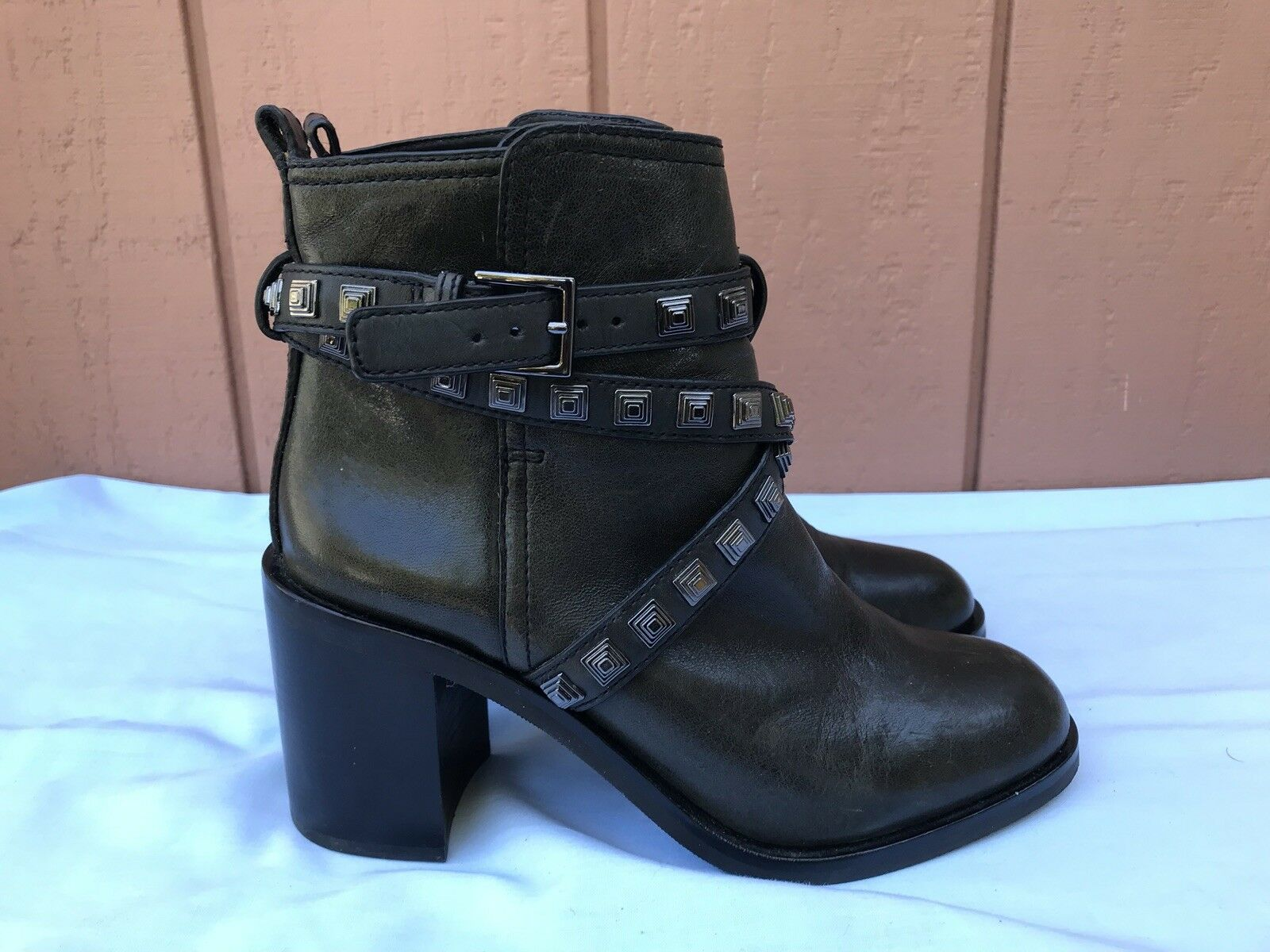 RARE MINT Tory Burch Burch Tory US 8.5 Faded Black Leather Studded Biker Ankle Boot $595 A9 f08d77