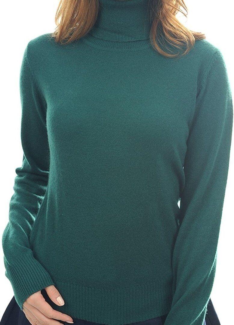 Balldiri 100% Cashmere Damen Pullover Rollkragen mit Bündchen englischgrün XL