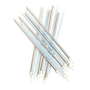 Image Is Loading 16 Blue Amp Silver Extra Long Cake Candles