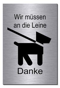 Schilder & Plaketten Hier Bitte Nicht-aluminium-edelstahl-optik-schild-15 X 10cm-warnschild-hund-top Dekoration