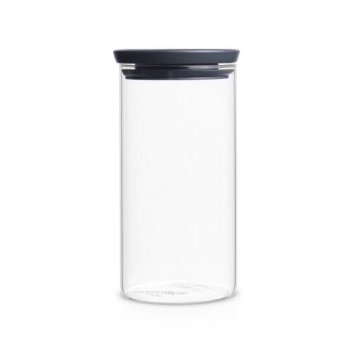 BRABANTIA Vorratsglas 1,1 Liter stapelbar mit grauem Deckel