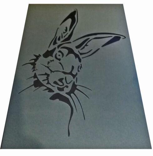 Shabby Chic Plástico Plantilla liebre Cara Conejo Muebles de pared A4 297x210mm DRP