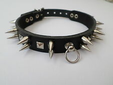 real leather fetish bondage collar with 15mm  spikes and studs 12-15 inch