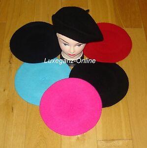 Unisex-Women-Girls-Wool-Blend-Beret-Plain-French-Style-Colour-Winter-Autumn-Hat