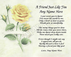 A Friend Just Like You Personalized Poem Memory Birthday
