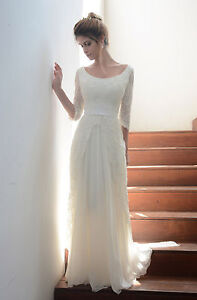 Modest Half Sleeve Wedding Dresses Beach A Line Fall Lace Winter ...