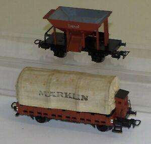 2x-Maerklin-Gueterwagen-367-Talbot-322-Planenwagen-mit-Bremserhaus-H0-gut