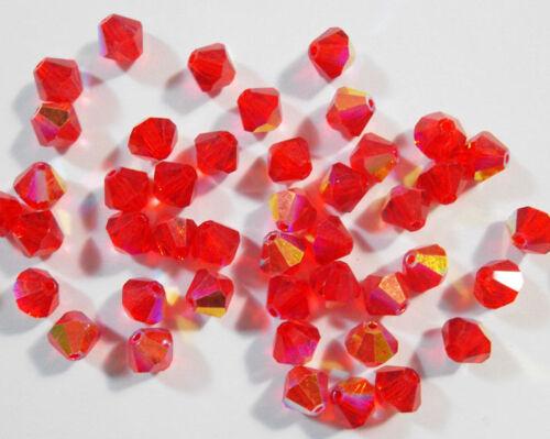 20 Rouge à partir de séquoia de perles de verre 6 mm TCHÈQUE CRISTAL PERLES LOSANGES x81