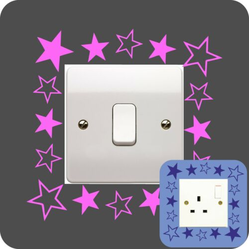 STAR stars sticker LIGHT SWITCH PLUG SURROUND bedroom WALL ART QUOTE DECAL