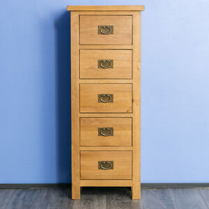 Image Is Loading Surrey Oak Tallboy Chest Of Drawers Solid Wood