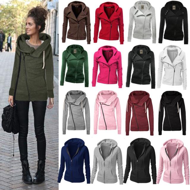 Women Long Sleeve Zipper Coat Warm Winter Casual Hooded Sweatshirt Jacket