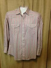 Men Vtg Karman Silver Collection Western Shirt Red White Striped L cot/poly L Sl