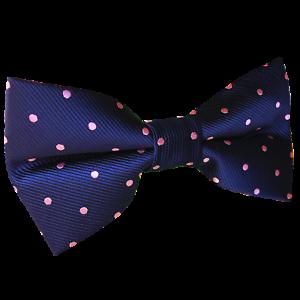 Navy-Blue-Pink-Polka-Dots-Pre-tied-Bow-tie-Mens-Bowtie-for-Groomsmen-Wedding