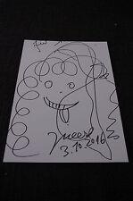 JONATHAN MEESE signed signierte 20x28 cm Karteikarte mit ZEICHNUNG InPerson RAR