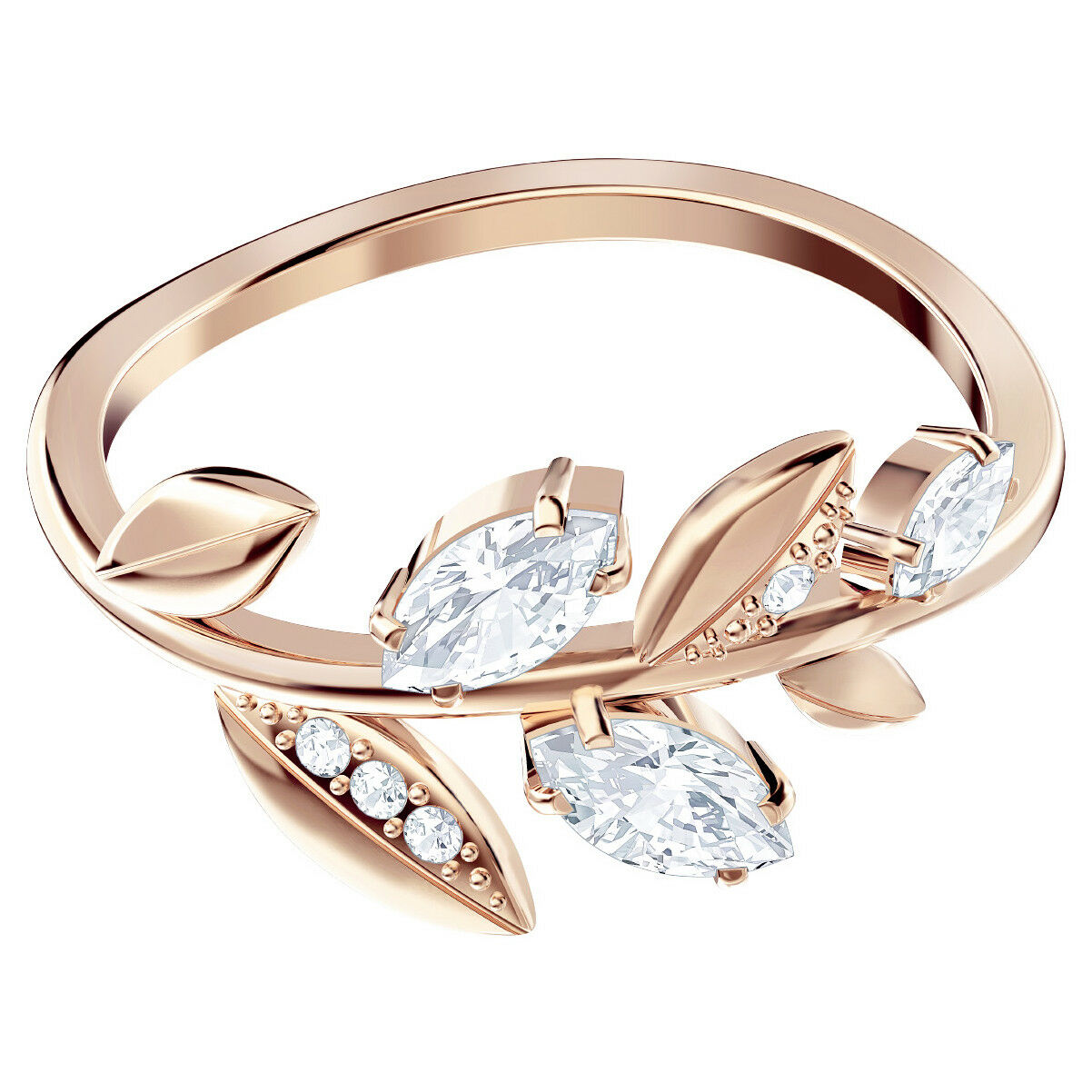 MAYFLY RING WHITE pink gold PLATING SIZE 9 SWAROVSKI JEWELRY 5448886
