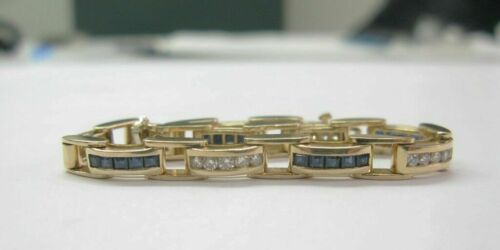 8.00 Ct 14 K Yellow Gold Over Diamond /& Blue Sapphire Tennis Bracelet