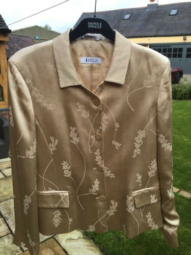 Gold Marella Immaculate Jacket Occasion 12 evening Jacquard Special Size qwBw8t