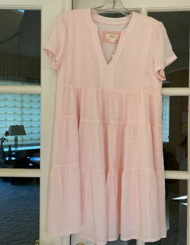 BNWT ANTHROPOLOGIE MAEVE SMALL PETITE TANIA SACHA TIERED TUNIC DRESS PINK HTF