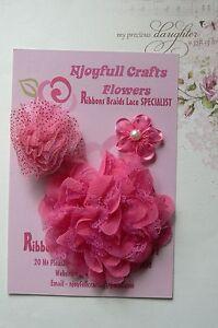HANDMADE-3-Mixed-Flowers-FUCHSIA-PINK-Organza-Lace-35-65-amp-90mm-Njoyfull-Crafts