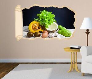 3D Adesivo Murale Essen Cucina Aglio Uovo Obst Carta Parati Parete ...