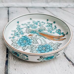Gold Imari Japan Hand Painted Porcelain Shallow Bowl Dish Blue Gold Peacocks