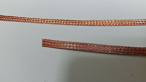 """25 Ft/' Flat Braided BARE PURE Copper Wire 1//4/"""" Wide Ground Strap USA"""