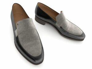 Mocassins en cuir véritable noir et en daim gris pour hommes faits à la main