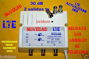 Amplificador de antena tv tdt 2x30 db para interior lte for Antena de interior para tdt