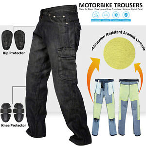 Denim-Motorcycle-Motorbike-Work-Cargo-Trousers-Jeans-With-Protection-Lining-BLK