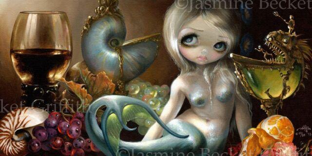 Stilleven 2 still life lowbrow Mermaid art Jasmine Becket-Griffith CANVAS PRINT
