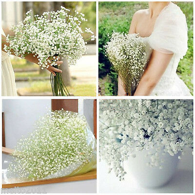 6X Artificial Silk Flowers White Gypsophila Bouquet Wedding Home Decor mc1222*