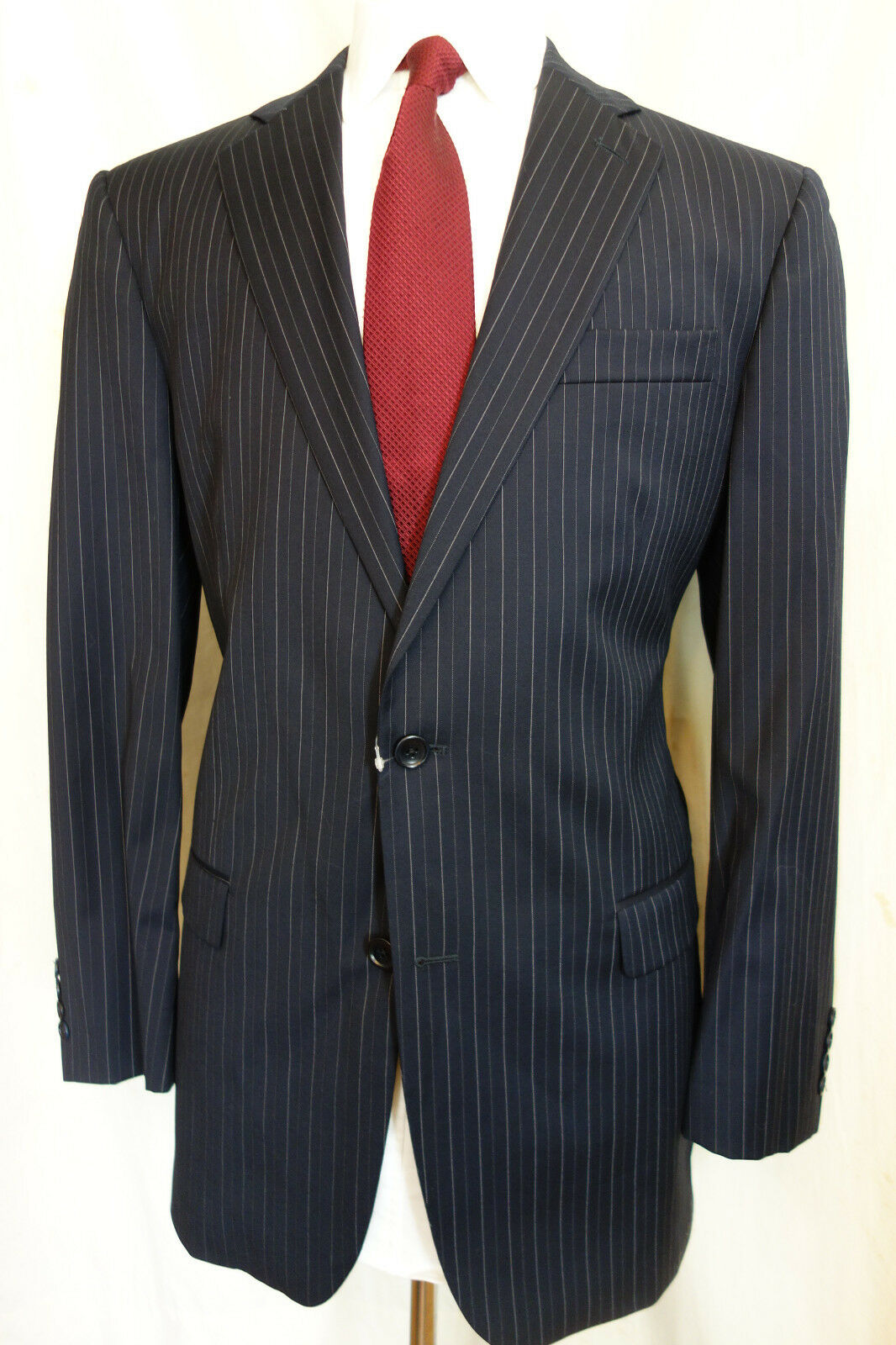 NWOT Brooks Brothers 1818 Madison Navy Pinstripe Saxxon Wool Suit 42L MSRP 1098