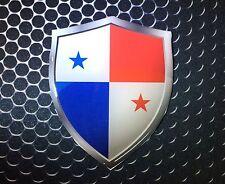 "Panama Flag USA Shield Proud Domed Decal Emblem Flexible Car Sticker 3D 2.3""x 3"""