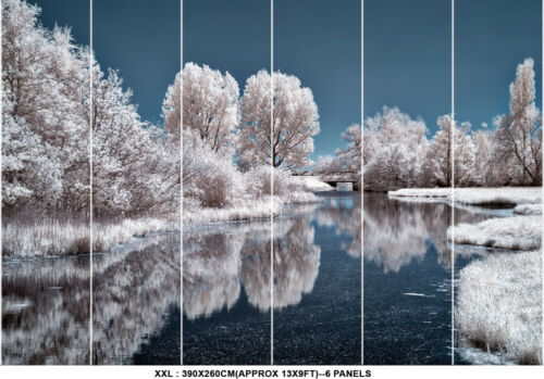 White Snow Winter Tree Lake Ice Frost Photo Wallpaper Mural Snowflakes Poster