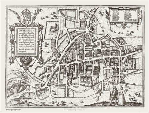uncoloured a plan of the City by Georg Braun Cambridge in 1584
