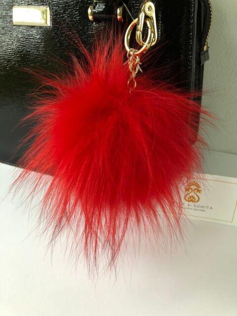 3bdcea4a1c Michael Kors Fox Fur Pom Pom Key Chain Purse Bag charm Bright RED Large  FreeShip