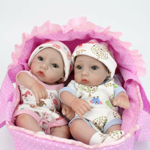 10 twins reborn baby boy girl dolls children silicone vinyl lifelike newborn