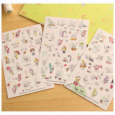 Cute Rabbit Diary Book Sticker Scrapbook Calendar Notebook Label Decoration New